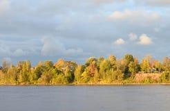 View of Neva River at evening. Stock Photos