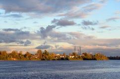 View of Neva River at evening. Royalty Free Stock Photos