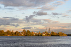View of Neva River at evening. Stock Photo