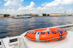 View of the Neva river from the excursion boat Stock Images