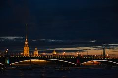 View of the Neva River in late evening. St. Petersburg looks fantastic in night lights royalty free stock photos