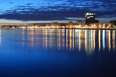 View of Neva river at night Royalty Free Stock Photos