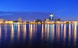 View of Neva river at night Stock Image