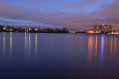View of Neva River at night. Royalty Free Stock Photography