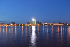 View of Neva River at night Royalty Free Stock Photo