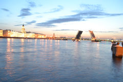 View of Neva River at night Royalty Free Stock Photography