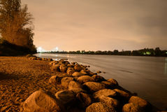 View of Neva River at night. Stock Photography