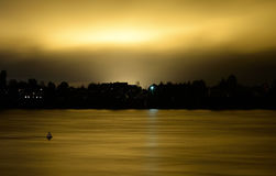 View of Neva River at night. Stock Photos