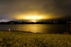 View of Neva River at night. Royalty Free Stock Image