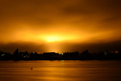 View of Neva River at night. Royalty Free Stock Photos