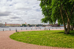 The view on the Neva river, Old Stock Exchange and Dvortsovy bridge from the walls of Peter and Paul fortress. Royalty Free Stock Photos