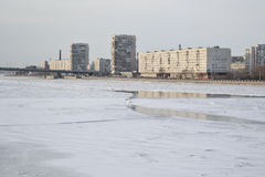 View of Neva River on the outskirts of St. Petersburg. Stock Photo