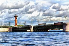 View from the Neva River on Palace Bridge and the Rostral column royalty free illustration