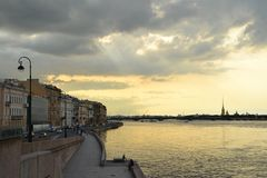 View of the Neva River in Saint Petersburg stock photography