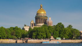 View on the Neva river and St Isaac's Cathedral. St. Petersburg stock video