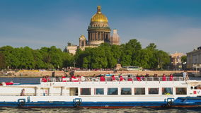 View on the Neva river and St Isaac's Cathedral. St. Petersburg stock video footage