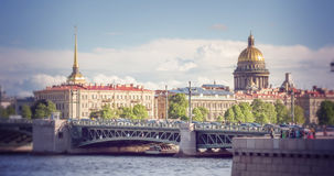 View on the Neva river and St Isaac's Cathedral. St. Petersburg Royalty Free Stock Photos