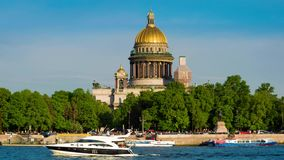 View on the Neva river and St Isaac`s Cathedral. St. Petersburg, Russia stock video