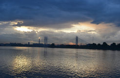 View of Neva river at sunset. Stock Image