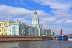 View from the Neva river to the Museum of anthropology and Ethno Royalty Free Stock Image