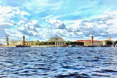 View from the Neva River to the Spit of Vasilyevsky Island royalty free illustration