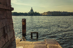 A view of the Neva river from the University embankment. Stock Photos