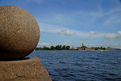 View of the Neva River from the Vasilievsky Island in St. Petersburg Royalty Free Stock Photography