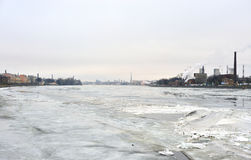 View of Neva river at winter. Royalty Free Stock Photos