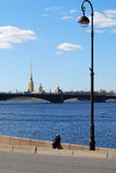 View of the Neva. Spring cityscape in St. Petersburg Royalty Free Stock Photos