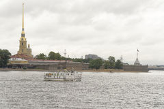 View of the Neva from the Troitsky Bridge in St. Petersburg Royalty Free Stock Photography