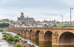 View at the Nevers with old bridge Royalty Free Stock Photo