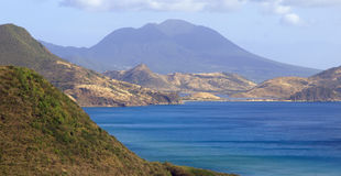 View of Nevis across the bay from St. Kitts Stock Image