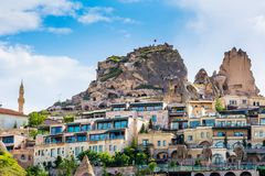 View of the Nevsehir Cave City in Cappadocia in Turkey. Open air. Museum, Goreme national park. Stone houses of Cappadocia Royalty Free Stock Photo
