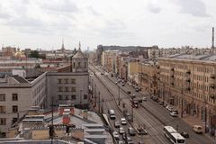View of Nevsky Prospect with one of the roofs of the city of St. Petersburg. stock image