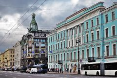 View of Nevsky prospect in Saint-Petersburg city, Russia. Nevsky prospect in historical city center of Saint-Petersburg, Russia. Zinger company historic Stock Photo