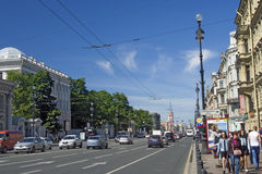 View of Nevsky prospect in Saint-Petersburg city, Russia. Stock Photo
