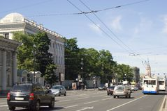View of Nevsky prospect in Saint-Petersburg city, Russia. SAINT-PETERSBURG, RUSSIA - JUNE 10, 2015: View of Nevsky prospect in historical city center of Saint Stock Photo