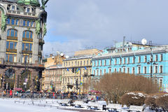 View on Nevsky Prospect. ST.PETERSBURG, RUSSIA - 15 APRIL 2017: Nevsky Prospect - the main street of St.Petersburg. View from the Kazan square Stock Image