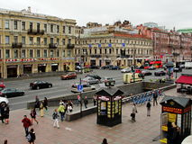 View of nevsky prospekt from the open gallery of the central department store. The city of st. petersburg, russia, northern europe. nevsky prospect — the main Stock Image