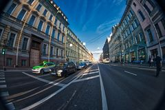 View of the Nevsky Prospekt, Saint-Petersburg, Russia. Fish eye lens creating a super wide angle view royalty free stock photography