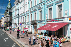 View of the Nevsky Prospekt in St. Petersburg. Russia Stock Images