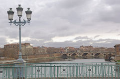 View of the New Bridge from the Bridge Saint Pierre, Toulouse, Royalty Free Stock Images