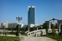 View on the  new building. Ashkhabad. Turkmenistan. Royalty Free Stock Photography
