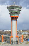 View of the new building of the control tower (KDP) at Sheremetyevo Airport Royalty Free Stock Photos