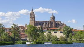 View on New Cathedral from river side in Salamanca stock video
