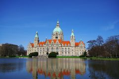 View of New City Hall Neues Rathaus of Hannover, Germany. Europe stock photo