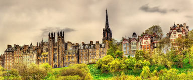 View of New College from Princes Street Gardens Stock Photo