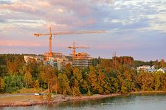 View of new districts of Mariehamn. Aland capital in evening at sunset.  stock photography