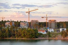 View of new districts of Mariehamn. Aland capital at sunset.  royalty free stock photo