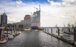 View of the new Elbphilharmonie concert hall in Hamburg. Hafen City quarter Royalty Free Stock Photography